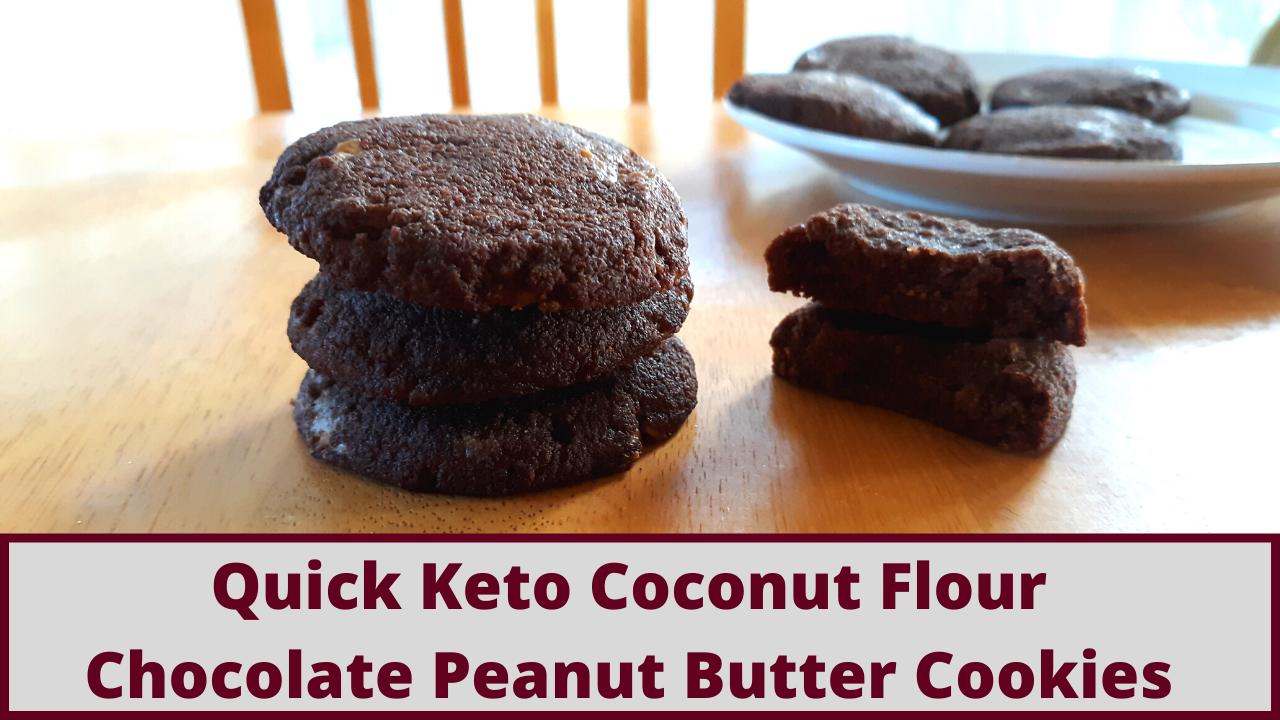 Quick Keto Chocolate Peanut Butter Coconut Flour Cookies